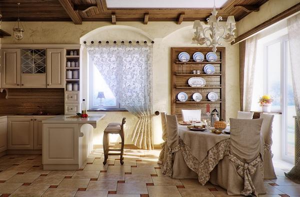 Благодаря кантри-шторам можно придать кухне комфорта и уюта