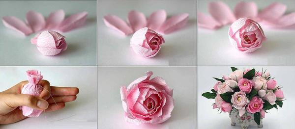 Оригинальные цветы из гофрированной бумаги придадут топиарию индивидуальности и креативности