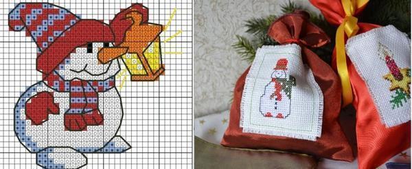 Для украшения подарочных мешочков отлично подойдет схема для вышивки снеговика