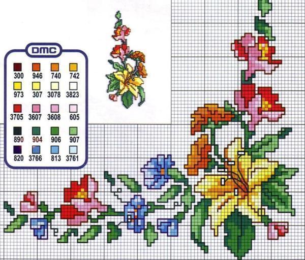Маленькие полотенца для рук и лица нужно вышивать миниатюрными цветочками или узорами