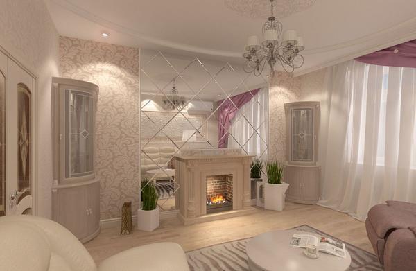Зеркальная плитка хорошо подходит для классической гостиной, делая ее светлее и комфортнее