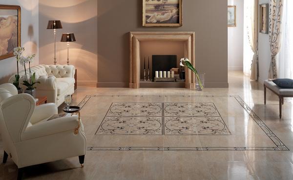 Для гостиной лучше выбирать плитку светлых оттенков, поскольку она визуально расширяет помещение