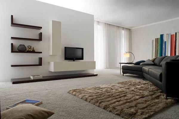 Стиль минимализма в интерьере зала идеально подойдет для комнаты небольших размеров