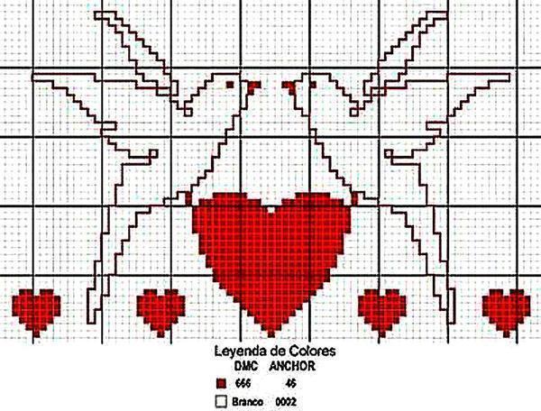 Вышивая крестиком символ любви, вы сохраните в себе память о счастливом моменте на долгие годы