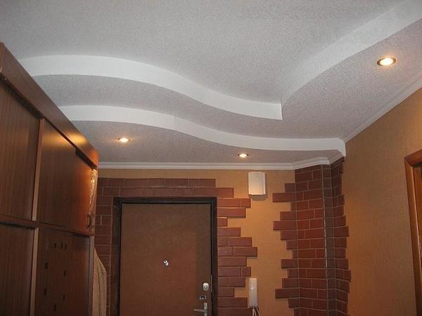 Используя гипсокартон для отделки, можно создать оригинальный потолок