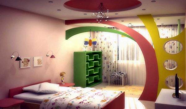 Спальная зона в детской должна быть выделена каким-то ярким цветом или декором