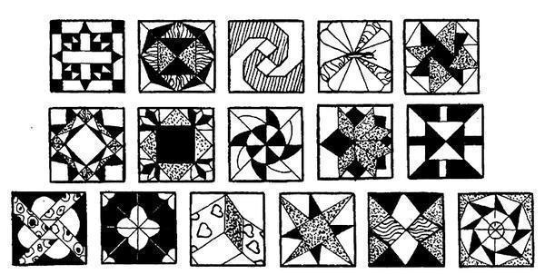Образцы некоторых узоров, используемых в пэчворке
