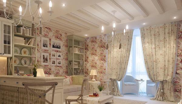 Шторы в стиле шебби шик: фото в интерьере гостиной, спальня и кухня, с розами картинки, фотосет подушки для комнаты