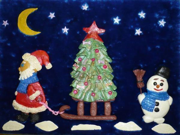 Новогоднее панно: Дед Мороз, как сделать мастер-класс, символ года, настенные картинки, Снегурочка поделка