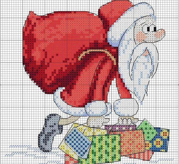 Новогодняя вышивка с Дедом Морозом, выглядит симпатично и весело на маленьких изделиях или салфетках и является именно той вещью, которая необходима для создания праздничного настроения