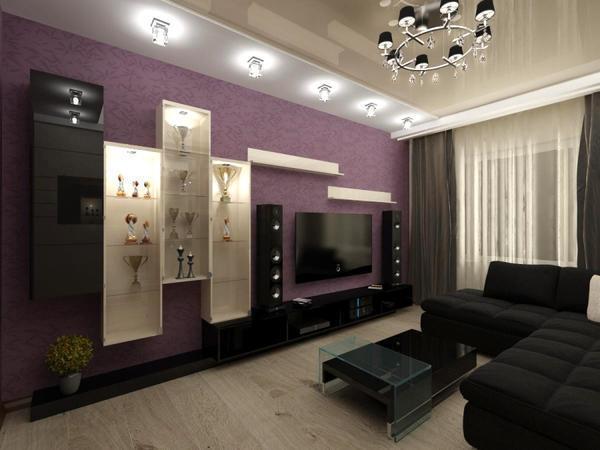 Прекрасный вариант для современной гостиной - это стиль хай-тек, в котором сиреневый сочетается с темными цветами