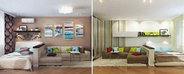 Чтобы увеличить число спальных мест в гостиной, многие хозяева ставят кровать и диван
