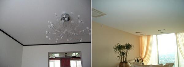Натяжной потолок поможет скрыть дефекты потолочных перекрытий, а также поможет спрятать разводку электропроводов
