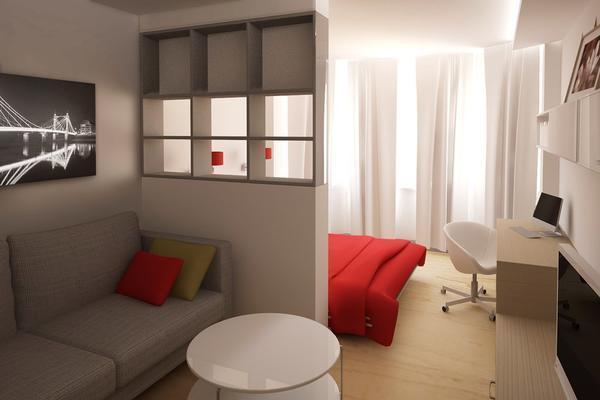 гостиная спальня 18 квадратов дизайн фото интерьер комнаты зала