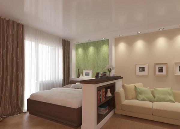 Спальную зону в однокомнатной квартире можно выделить обоями другого цвета, который будет сочетаться с основным оттенком стен
