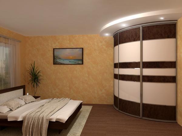 Для большой спальни хорошим выбором станет круглый угловой шкаф