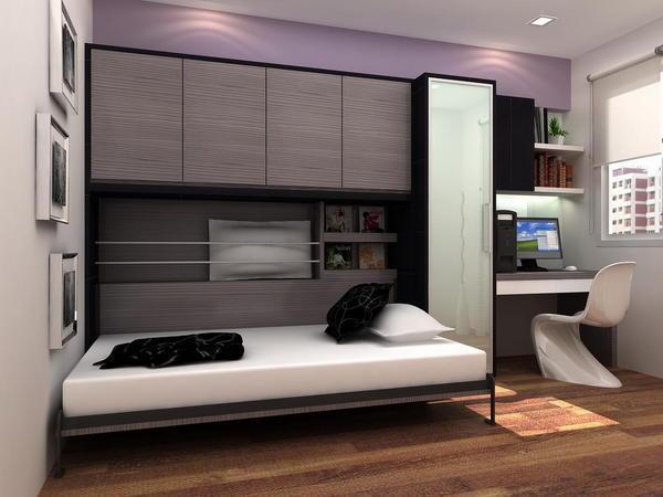 Кровати с гидравлическими амортизаторами можно использовать и в детских комнатах, так как подросток может сам регулировать высоту кровати