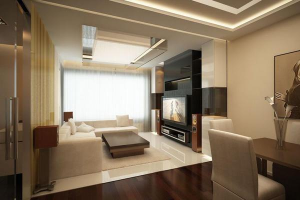 Обновить интерьер гостиной можно при помощи совмещения двух комнат или их перепланировке
