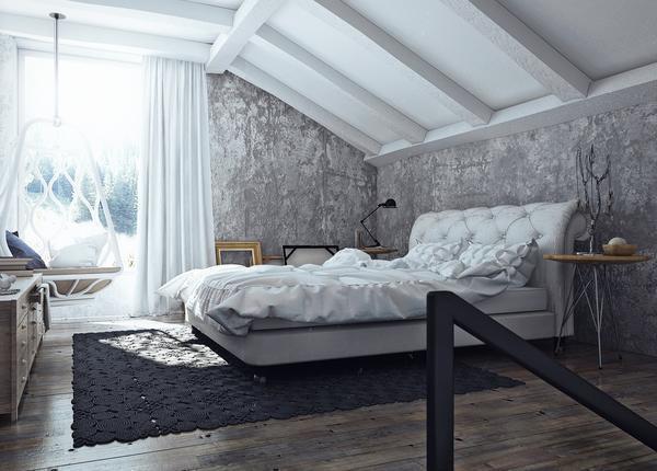 Спальня белого цвета в стиле лофт притягивает своей легкостью и свежестью