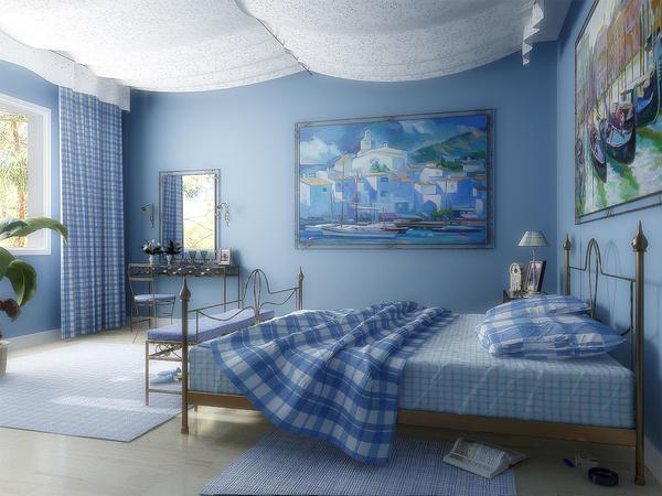 Картина в синих тонах станет хорошим дополнением к обоям голубого цвета