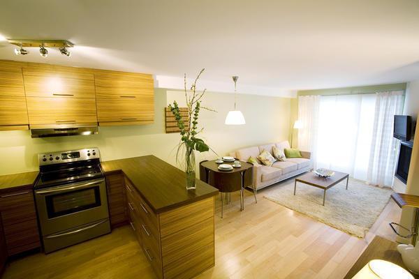 Небольшое разделение между кухней и гостиной позволит комфортно себя чувствовать в обеих зонах