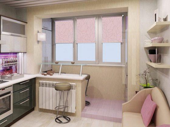 Кухни, в которых имеется выход на балкон, считаются гораздо более привлекательными, чем их стандартные варианты