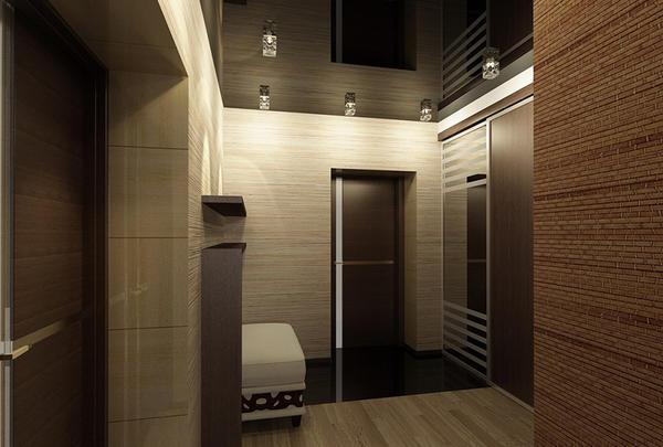 Черный потолок и светлые стены - отличное сочитание для прихожей