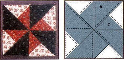 Разработать концепцию лоскутного покрывала можно при помощи простых или более сложных схем, найденных в тематических изданиях или придуманных самостоятельно