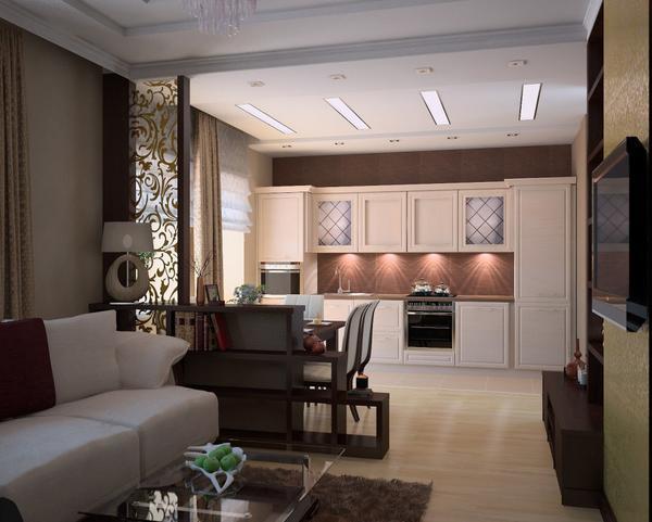 Создать единый гармоничный стиль в помещении можно путем приобретения мебели в гостиную и кухонного гарнитура одинакового оттенка