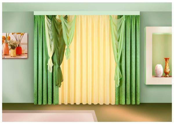 Шторы из вуали двух цветов фото: тюль на окнах, ламбрекены из микровуали для зала, белая ткань, цветы своими руками