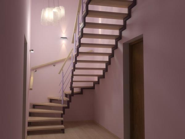 Отличным вариантом для обустройства загородного дома является практичная лестница из металлического профиля