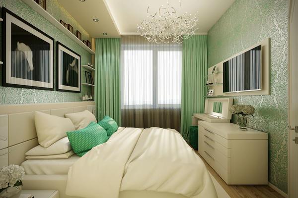 Отличным вариантом является расположение кровати возле входа, чтобы возле окна можно было разместить рабочий стол