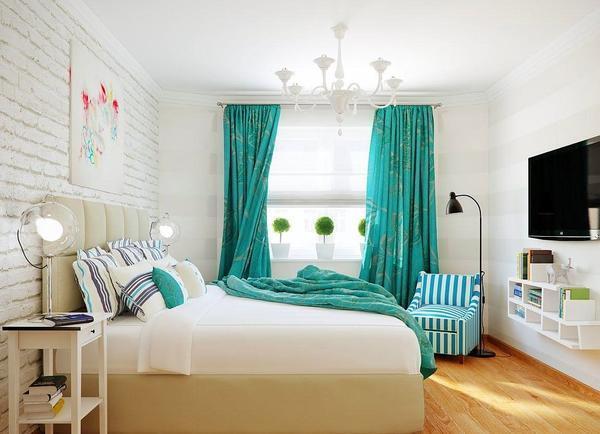 Бирюзовые шторы: фото в интерьере, картинки и цвета, темная бирюза в гостиной, ткань в шоколадных тонах