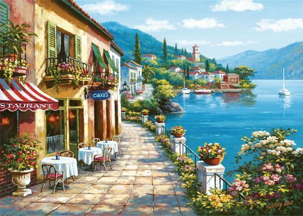 Городские вышитые пейзажи с легкостью украсят интерьер гостиной, кухни или другого помещения