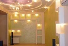 Размещение светильников на натяжном потолке фото