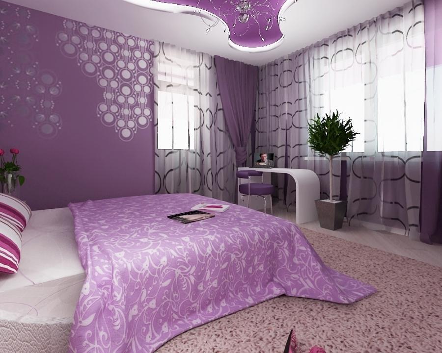 Картинки спальни в фиолетовых тонах фото