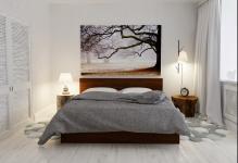 Необычная спальня в скандинавском стиле: скромное, но привлекательное решение