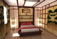 Bedroom-in-Japanese-style-With-unique-ceiling-and-wooden-floor