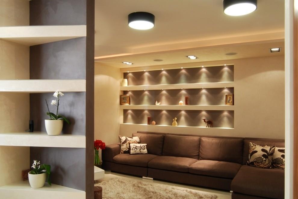 ниши из гипсокартона с подсветкой фото кирпичных домах