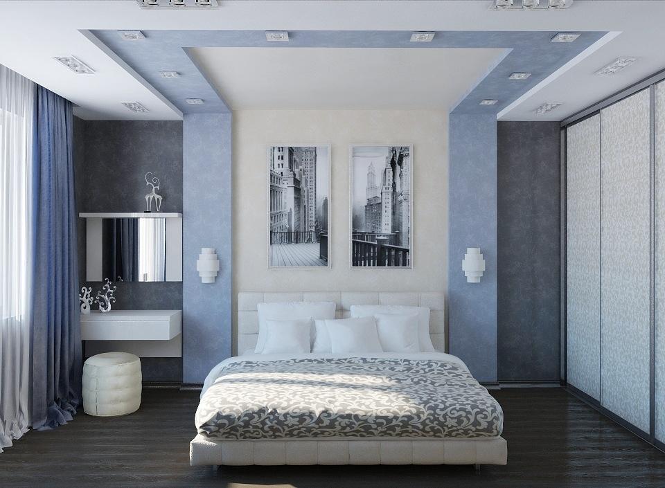 тепло почва дизайн спальни серо синий фото самая популярная стрижка