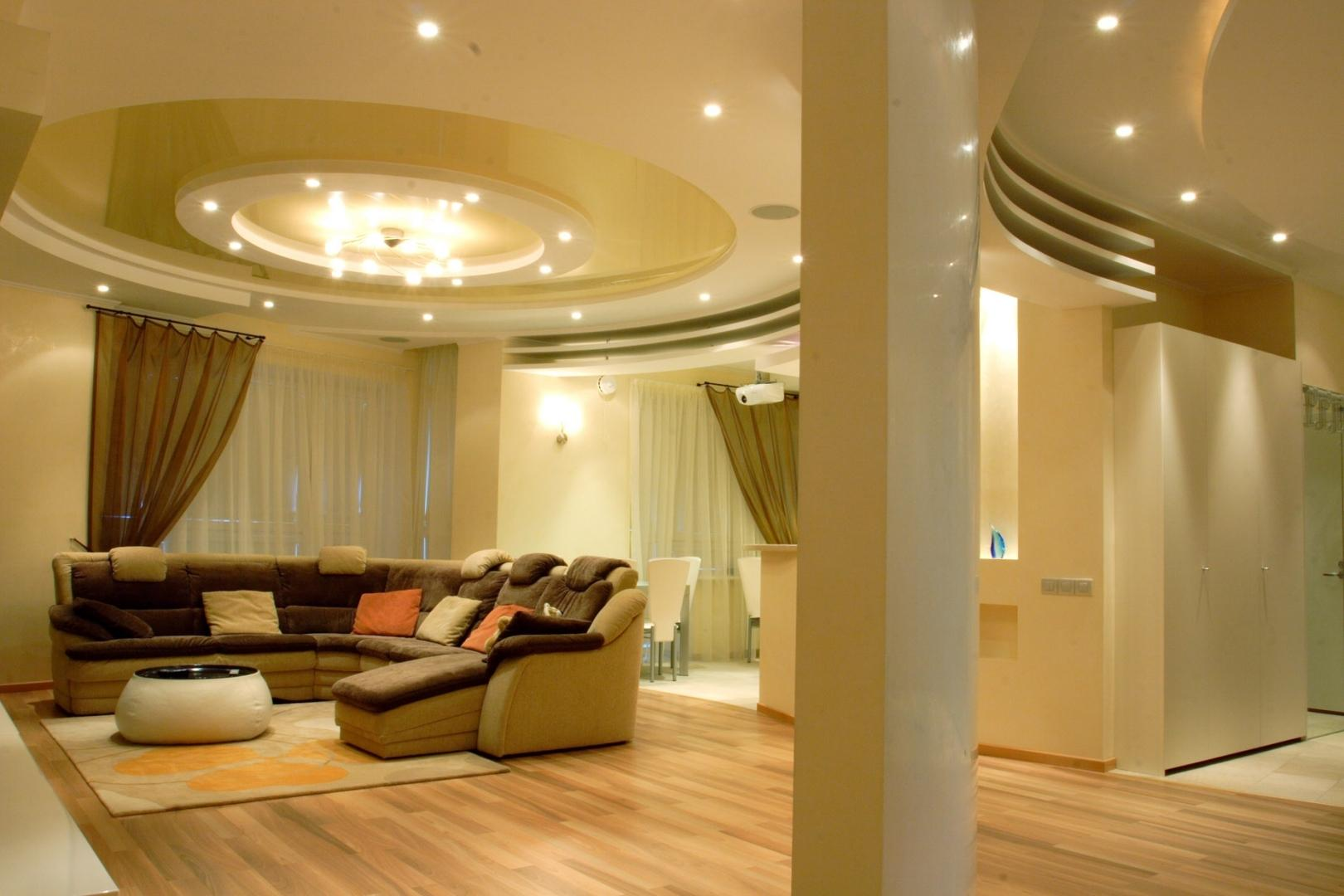 многоуровневые потолки из гипсокартона фото в зале есть
