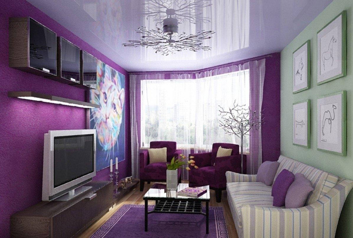 качестве базового фото обоев для зала цвет фиолетовый мебель бытовая