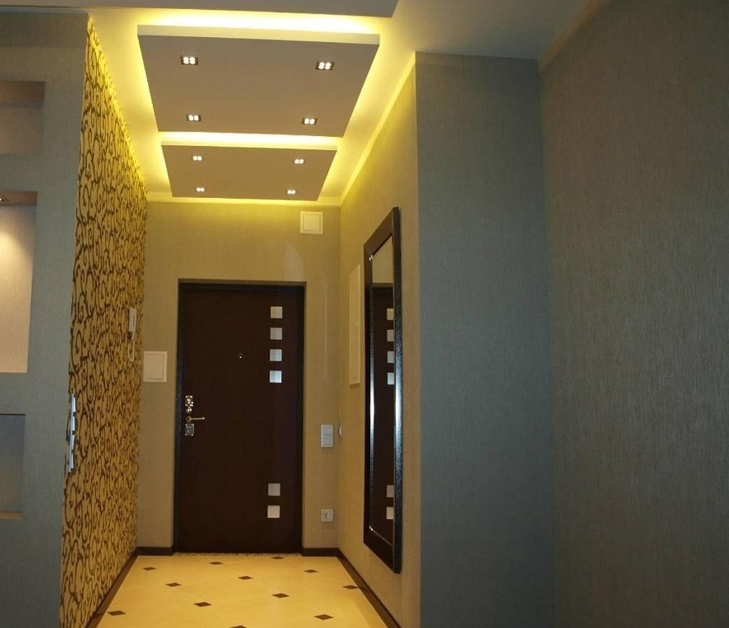 Потолок из гипсокартона с подсветкой фото коридор