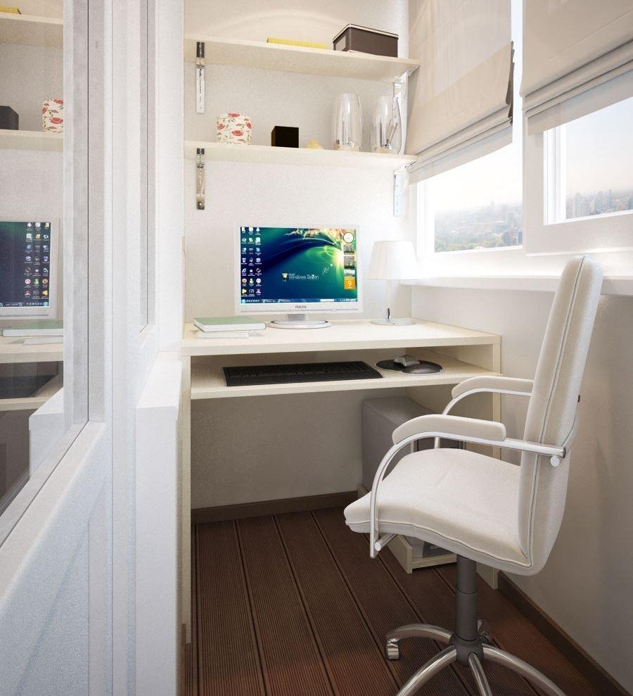 балкон с рабочим местом фото для