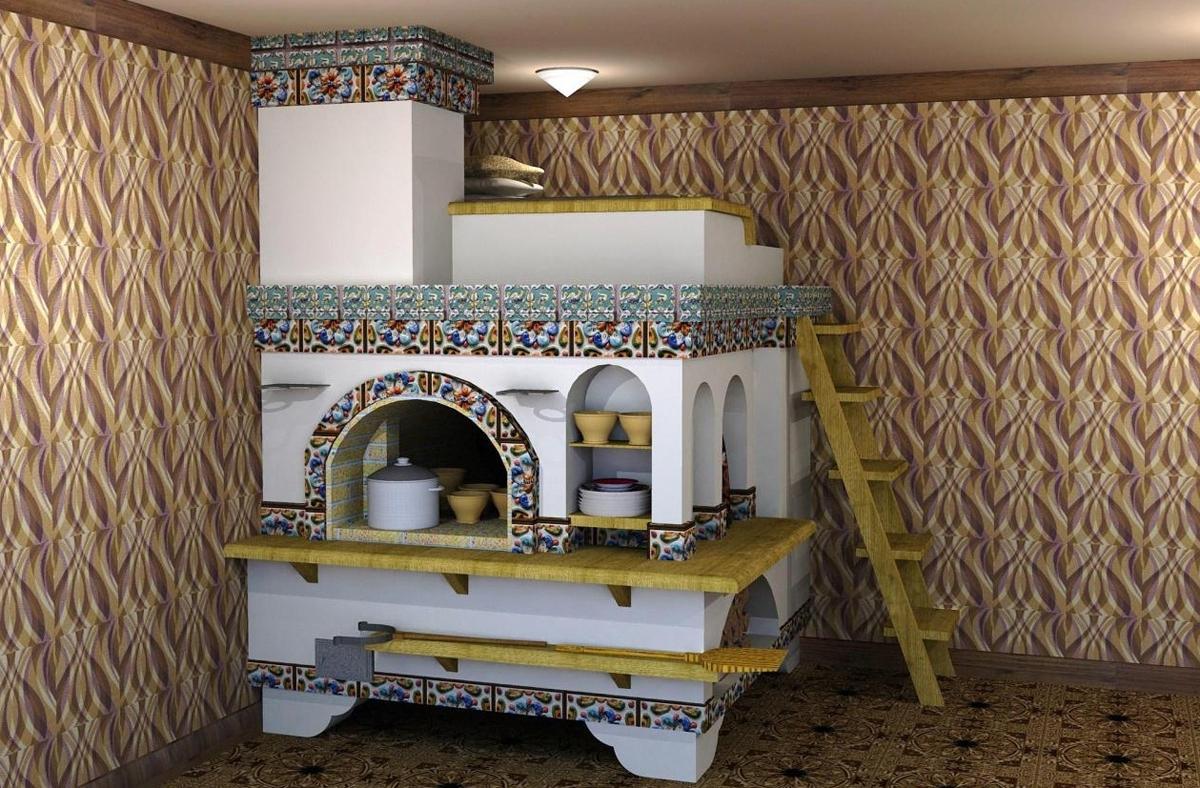 дизайн русской печи в доме фото