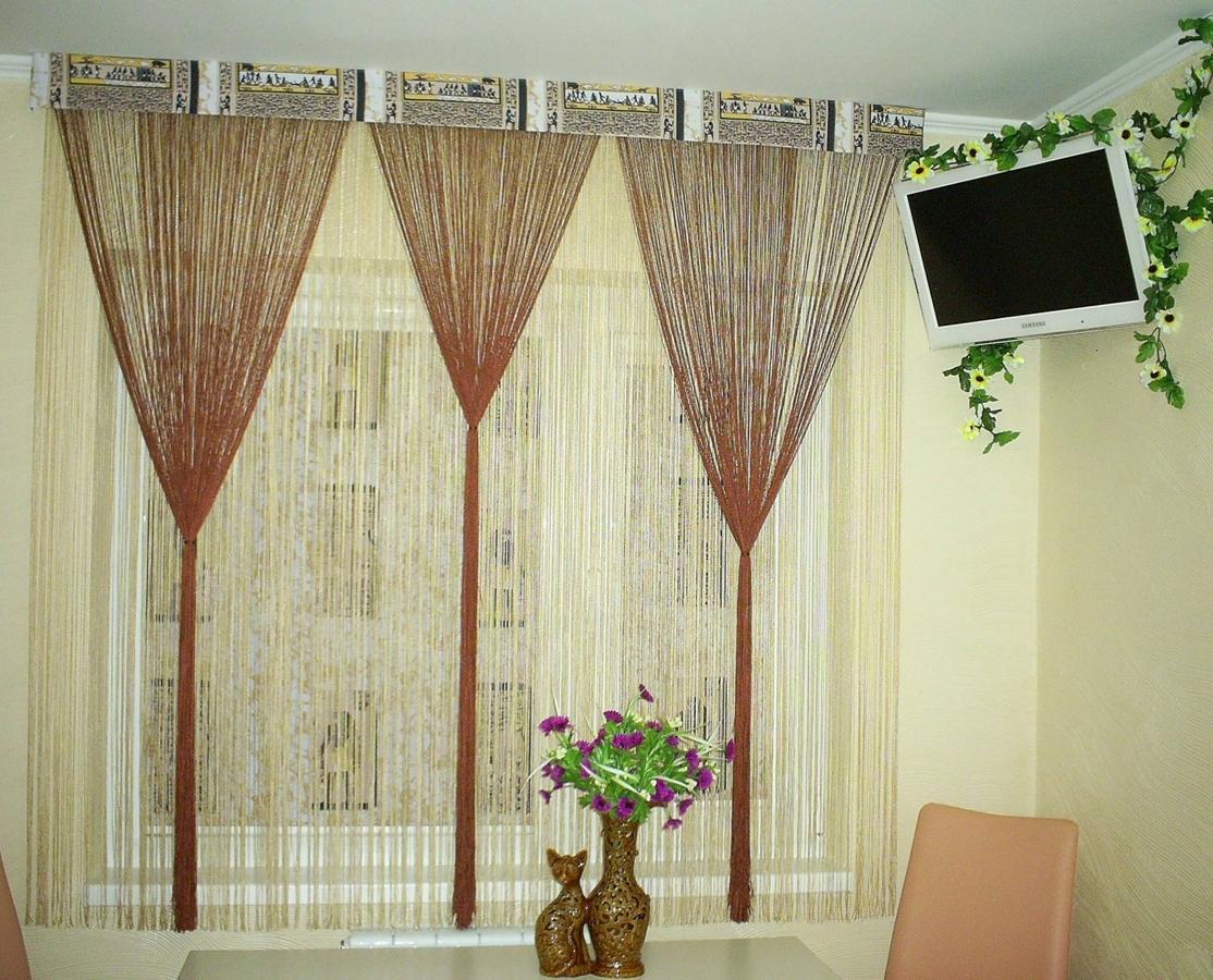 шторы нитки на кухне фото сегмент