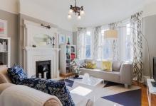 Gordijnen voor de erker in de woonkamerfoto