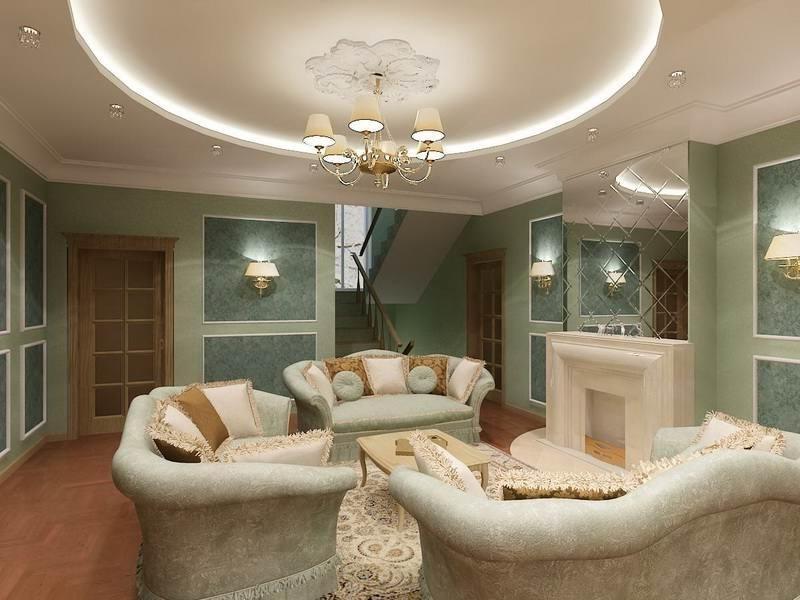 дизайн потолков из гипсокартона фото для зала волл