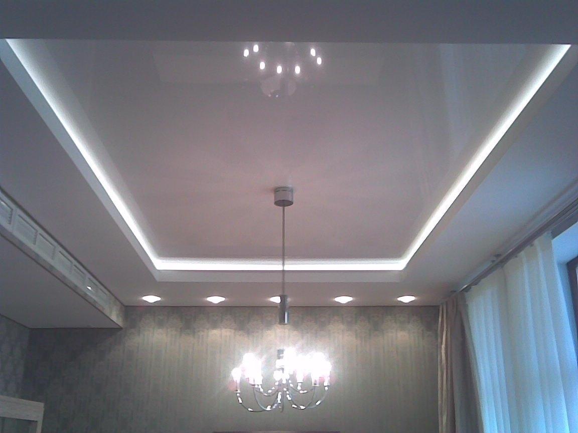 потолок из гипсокартона с диодной подсветкой фото здесь