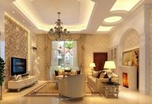 European-style-living-room-design-with-wallpaper-and-sculpture
